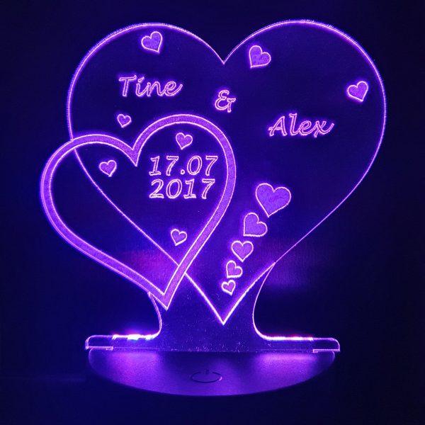 LED 2 Herzen mit Farbe Mod LED Farben RGB Leuchtet leuchten individuell Datum Liebe Jahrestag Name Acryl