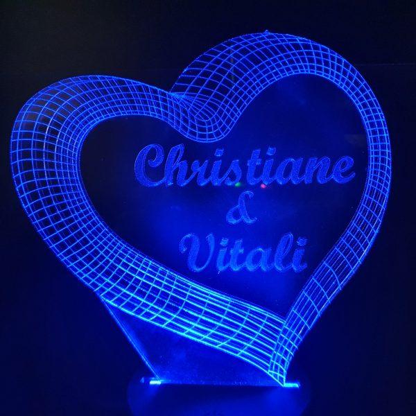 LED 2 Herzen mit Farbe Mod LED Farben RGB Leuchtet leuchten individuell Datum Liebe Jahrestag Name Acryl 3D Herz