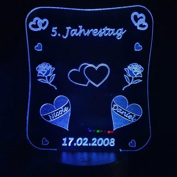 Ballon Herzen Geschenk LED 2 Herzen mit Farbe Mod LED Farben RGB Leuchtet leuchten individuell Datum Liebe Jahrestag Name Acryl 3D Herz