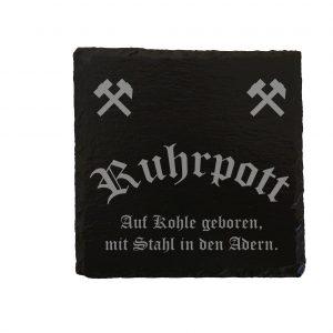 Ruhrpott Geschenk Trinken Saufen Untersetzer Bier Gravur Laser Schiefer Schieferplatte Auf Kohle Geboren Individuell