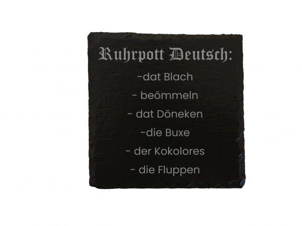 Ruhrpott Geschenk Trinken Saufen Untersetzer Bier Gravur Laser Schiefer Schieferplatte Auf Kohle Geboren Individuell Ruhrpott Deutsch